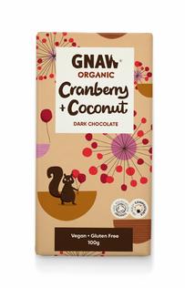 Gnaw organic dark chocolate with cranberry & coconut
